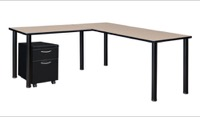 "Kee 72"" Single Pedestal L-Desk with 42"" Return, Beige/Black"