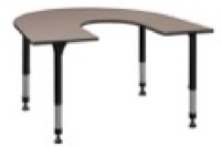 "66"" x 60"" Horseshoe Shaped Height Adjustable Classroom Table - Beige"