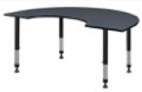 "72"" x 48"" Kidney Shaped Height Adjustable Classroom Table - Grey"