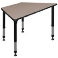 "48"" x 24"" Trapezoid Height Adjustable Classroom Table - Beige"