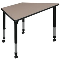 "48"" x 24"" Trapezoid Height Adjustable Mobile Classroom Table - Beige"