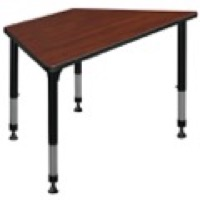 "48"" x 24"" Trapezoid Height Adjustable Classroom Table - Cherry"