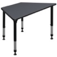 "48"" x 24"" Trapezoid Height Adjustable Classroom Table - Grey"