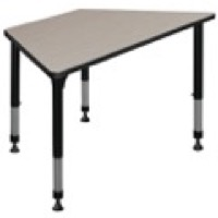 "48"" x 24"" Trapezoid Height Adjustable Classroom Table - Maple"