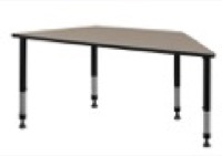 "60"" x 30"" Trapezoid Height Adjustable Classroom Table - Beige"
