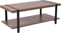 Beacon Hill Collection -Rustic Wood Grain Coffee Table - Black Metal Legs