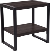 Thompson Collection - Charcoal Wood Grain End Table - Black Metal Frame