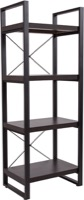 Thompson Collection - Charcoal Wood Grain Bookshelf - Black Metal Frame