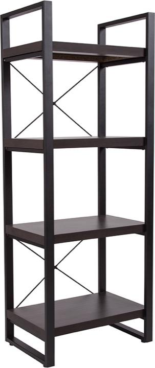 Thompson Collection Charcoal Wood Grain Bookshelf Black Metal Frame
