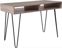 Franklin Collection - Oak Wood Grain Computer Table - Black Metal Legs