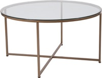 Greenwich Collection - Glass Coffee Table - Matte Gold Frame