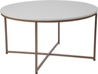 Hampstead Collection - White Coffee Table - Matte Gold Frame