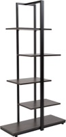 Homewood Collection - Driftwood 5-Tier Decorative Shelf - Black Metal Frame