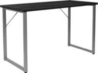 Harvey Collection - Black Computer Desk - Silver Metal Frame