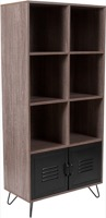 Woodridge Collection - Rustic Wood Grain Storage Shelf - Metal Cabinet Doors and Black Metal Legs