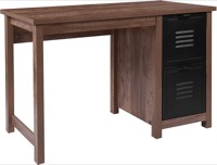 New Lancaster Collection - Crosscut Oak Wood Grain Computer Desk - Metal Drawers