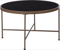 Chelsea Collection - Black Glass Coffee Table - Matte Gold Frame