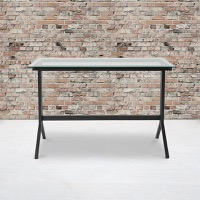 Highland Collection - Glass Computer Desk - Black Metal Frame