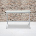 Winfield Collection - Glass Computer Desk - White Metal Frame