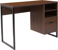Northbrook Collection - Rustic Coffee Wood Grain Computer Desk - Black Metal Frame