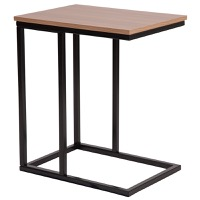 Aurora Collection - Rustic Wood Grain Side Table - Black Metal Cantilever Base