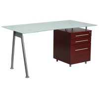 Three Drawer Glass Top Desk