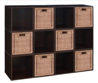Niche Cubo Storage Set  - 12 Cubes and 6 Wicker Baskets - Truffle/Natural