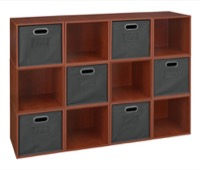 Niche Cubo Storage Set  - 12 Cubes and 6 Canvas Bins - Cherry/Grey
