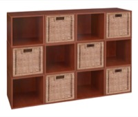 Niche Cubo Storage Set  - 12 Cubes and 6 Wicker Baskets - Cherry/Natural