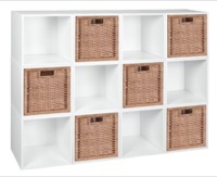 Niche Cubo Storage Set  - 12 Cubes and 6 Wicker Baskets - White Wood Grain/Natural