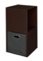 Niche Cubo Storage Set  - 2 Cubes and 1 Canvas Bin - Truffle/Grey