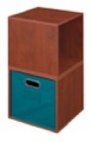 Niche Cubo Storage Set  - 2 Cubes and 1 Canvas Bin - Cherry/Teal