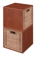 Niche Cubo Storage Set  - 2 Cubes and 2 Wicker Baskets - Cherry/Natural