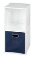 Niche Cubo Storage Set  - 2 Cubes and 1 Canvas Bin - White Wood Grain/Blue