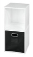 Niche Cubo Storage Set  - 2 Cubes and 1 Canvas Bin - White Wood Grain/Black
