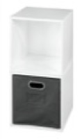 Niche Cubo Storage Set  - 2 Cubes and 1 Canvas Bin - White Wood Grain/Grey