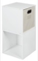 Niche Cubo Storage Set  - 2 Cubes and 1 Canvas Bin - White Wood Grain/Natural
