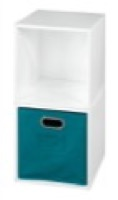 Niche Cubo Storage Set  - 2 Cubes and 1 Canvas Bin - White Wood Grain/Teal