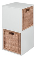 Niche Cubo Storage Set  - 2 Cubes and 2 Wicker Baskets - White Wood Grain/Natural