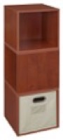 Niche Cubo Storage Set  - 3 Cubes and 1 Canvas Bin - Cherry/Natural