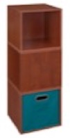 Niche Cubo Storage Set  - 3 Cubes and 1 Canvas Bin - Cherry/Teal