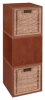 Niche Cubo Storage Set  - 3 Cubes and 2 Wicker Baskets - Cherry/Natural