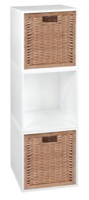 Niche Cubo Storage Set  - 3 Cubes and 2 Wicker Baskets - White Wood Grain/Natural