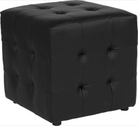 Black Leather Tufted Pouf