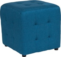 Blue Fabric Tufted Pouf