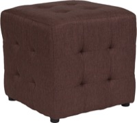 Brown Fabric Tufted Pouf