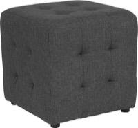 Dk Gray Fabric Tufted Pouf