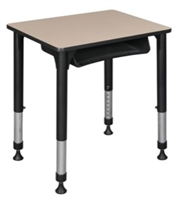 "18.5"" x 26"" Rectangle Height Adjustable School Desk with Book Storage - Beige"