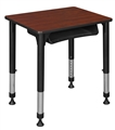 "18.5"" x 26"" Rectangle Height Adjustable School Desk with Book Storage - Cherry"