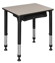 "18.5"" x 26"" Rectangle Height Adjustable School Desk with Book Storage - Maple"